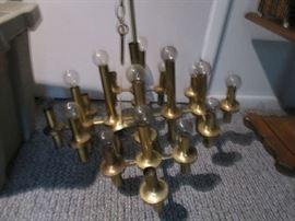 1960s Brass Chandelier Style of Sciolari