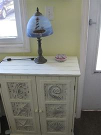 light house painted lamp sea shell cupboard
