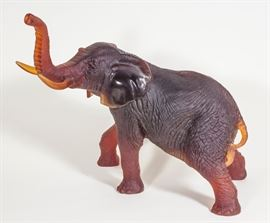 Daum Amber Glass Elephant