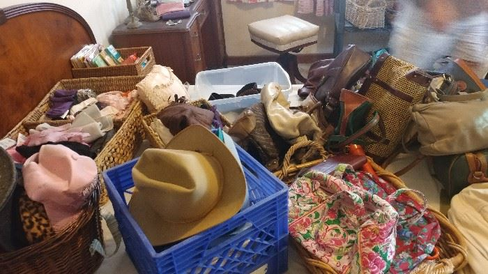 Huge assortment of hats, vintage hats & purses