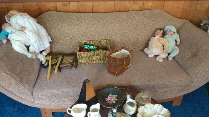 Antique sofas & dolls
