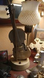 2 Violin milk glass lamps