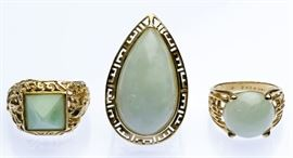 14k Gold and Jadeite Jade Ring Assortment