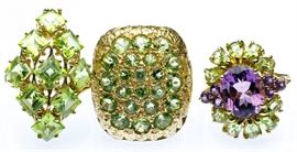14k Gold and Semi Precious Gemstone Ring Assortment
