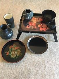 Asian Inspired Trays and Pottery