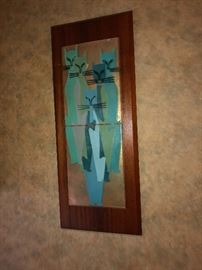 BUY IT NOW $195.00.  Mid Century / Danish Modern cat plaque- the family went to Denmark in the early 1960's