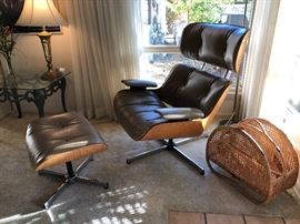 another shot of the Eames style lounge and rattan magazine rack