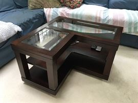 Wood and beveled glass coffee table x 2