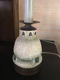Vintage art pottery lamp.  Looks like Roseville Mostique.