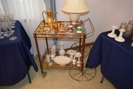 Vintage Serving Cart, Coffee Service, Vases, Decorative Serving Bowls