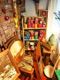 Antique chairs, tobacco tins, antique sled