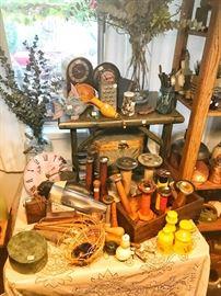 wool spools, baskets, antique jars