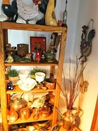 Copper pots, roosters, kitchen decor, rooster statues, antique irons, serving dishes, pulleys