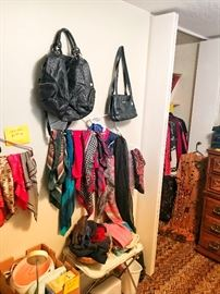 Scarves, women's clothing, bedroom furniture, lamps, purses