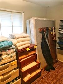 Twin bed frame, queen bed frame, blankets, linens, snowboard pants