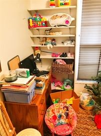 Kids toys, office supplies, desk