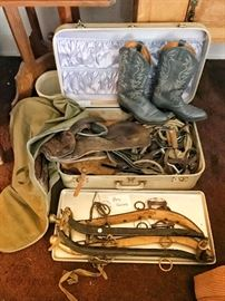 Horse saddle, pony harness, cowboy boots