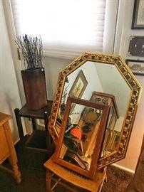 Mirror, vases, glassware