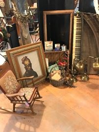 antique lamps, old piano, childs rocker