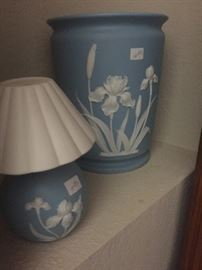 Blue and White trash can, small night light
