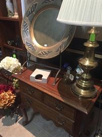 Mahogany Side Table, Brass Table Lamp,