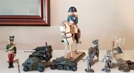 Antique French toys, center cold paint over metal ( uncertain if it is bronze)  image of Napoleon on horseback