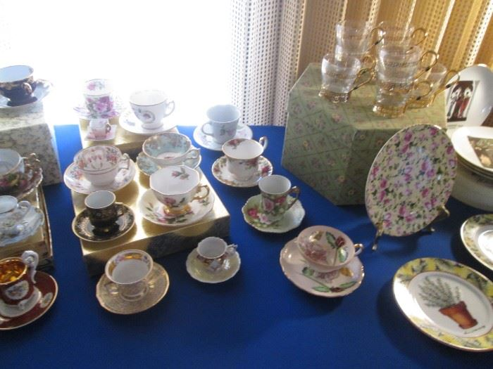 Upper Right is a Set of 8-Glass Cups in Gold Holders