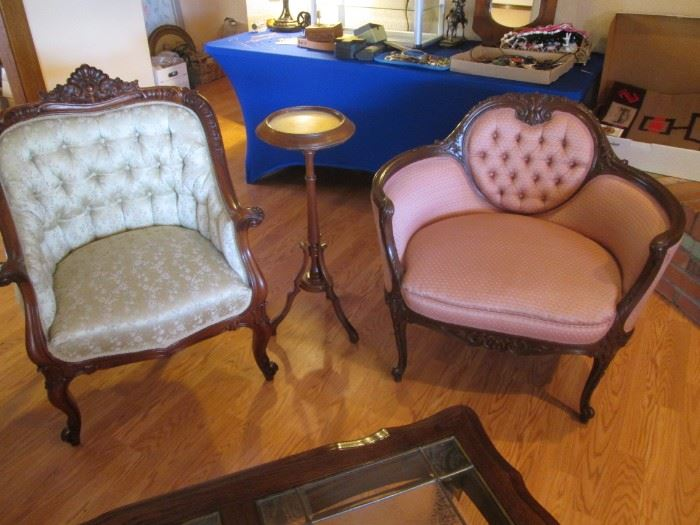 "Button-Tufted ""Parlor"" Furniture, Small Settee & Chair with Charming Accent Table"