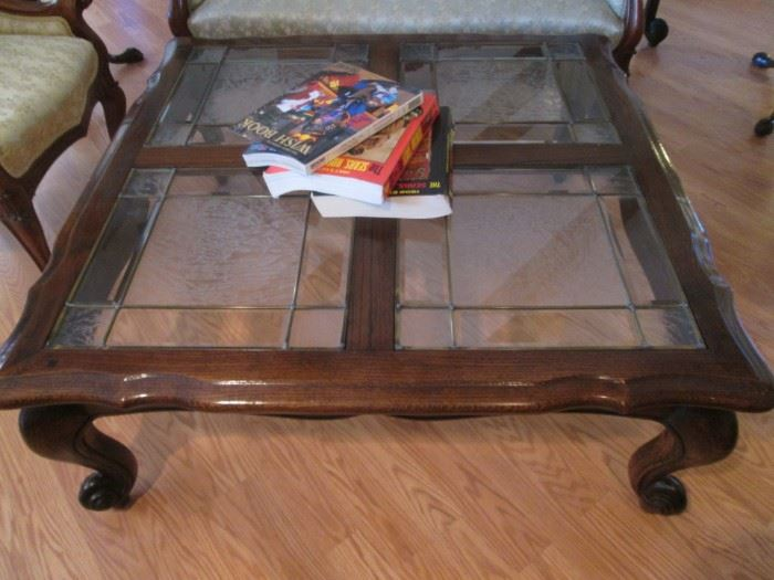 "Traditional-Style Coffee Table, Wood and Leaded Glass,  42"" X 42"""