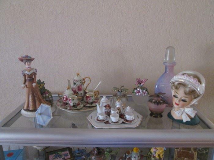 """Mini and Very Mini Tea Sets, Ladies Head Vase and""""Lady Sabrina"""", 1983, 75/1000"""
