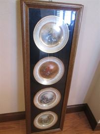 "Set of 4-Plates by Patti Canario, ""Song birds"", Framed"