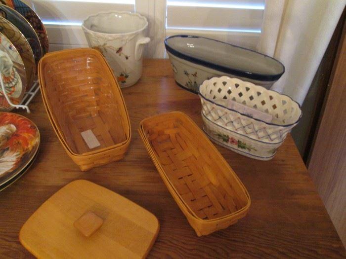 Longaberger Baskets, Pottery, Wood