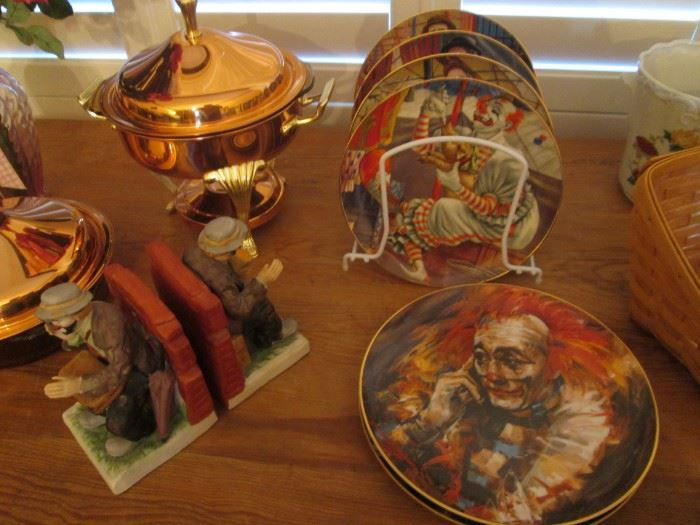 Copper Chaffing Dish, Emmitt Kelley Collector's Plates and Bookends