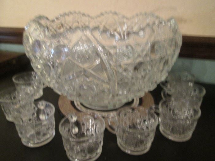Handmade Punch Bowl Set, 12 Cups and Glass Ladle.  Perfect for your Holiday Entertaining!