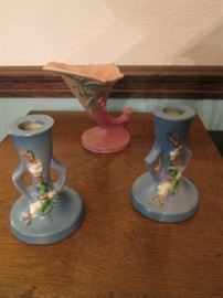 "The Other 3-Roseville Pieces.  Candlesticks are 5"" high."