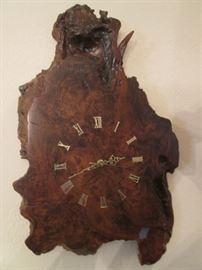 Wall-Mount Clock on Burled Wood