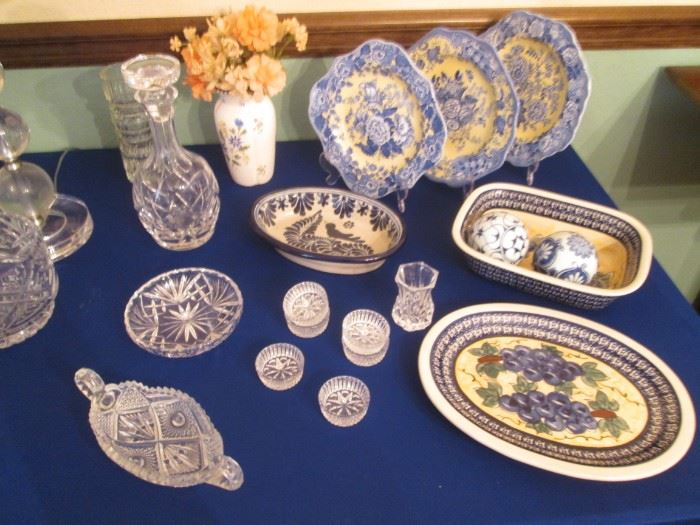 Assorted Cut Glassware Serving Pieces.                                                              Spode Garden Collection Plates, British Flowers, Poppy Pattern.