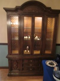 Oversized China Cabinet, Lighted.  Plenty of Display and Storage for China, Glassware & Collectibles