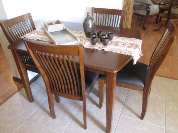 "Dinette Set, Table/4-Chairs, Dark Wood, 48"" X 36"""