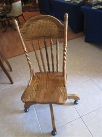 Old Spindle/Cane Back Chair on Casters