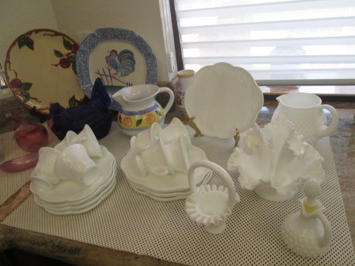 Milk Glass and Hobnail Pieces:  Pitcher, Cruet, Basket, Snack Set Service for 8, Bowls