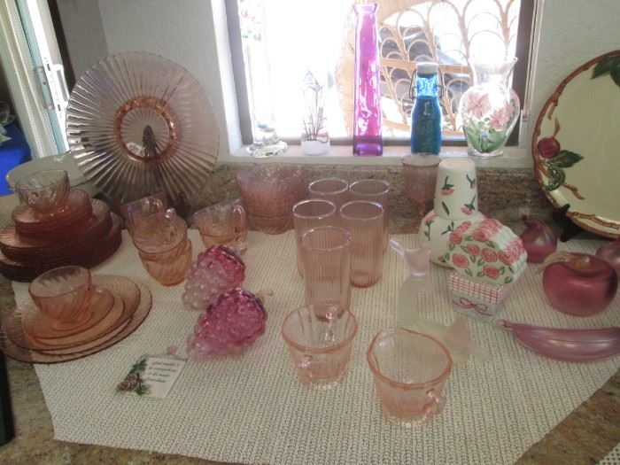 Beautiful Pink Depression Glass:  Plates, Cups/Saucers, Bowls.  Also 4-Pieces of Satin Glass.                                            Upper Right, Franciscan Platter in Apple Pattern