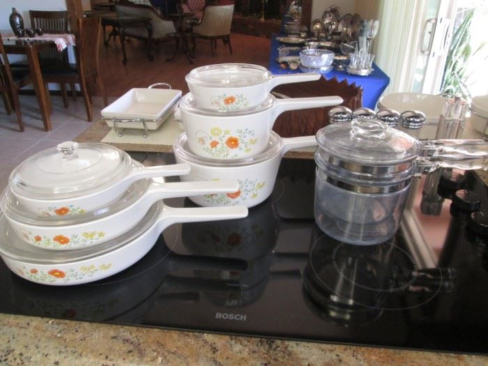 "6-Piece Corning Ware Cook Set with Glass Lids, Pattern ""Wildflowers"".                                                                           Vintage Pyrex Double Boiler, COOL!"