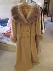 Full-Length Coat, Double Breasted, with Fur Collar and Cuffs, Camel Color