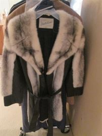 Fur and Leather Jacket with Belt By Natelson's, Omaha