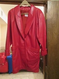 Red Leather Jacket By Wilsons, Size Small