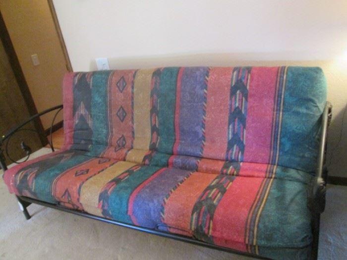 "Futon, 78"", Southwest Fabric in Metel Frame"