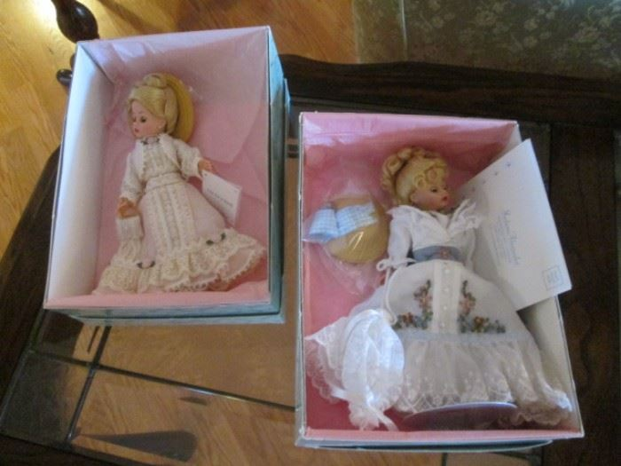 "2-Madame Alexander Dolls with Boxes, each 10"" Tall.     ""Out For A Stroll"" #27815                                                                   ""Victorian Spring Promenade"" #27810"