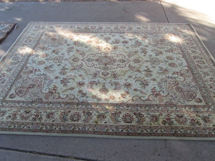 Room-Size Area Rug, 7 1/2'  X 9 1/2'  Muted colors and Overall Floral Design, has been cleaned!