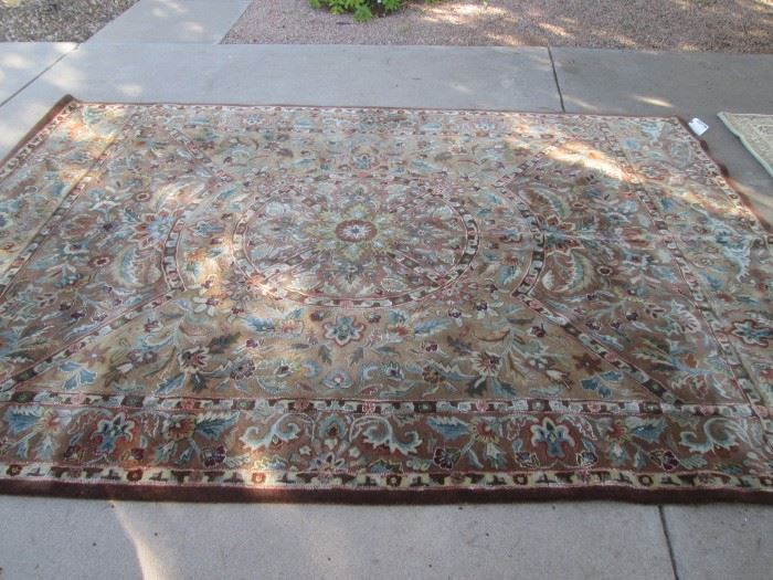 "Room-Size Area Rug, 8' X 11'  100 % Wool, ""Surya"" from India.  Darker Colors and Leaf and Floral Design, has been Cleaned!"